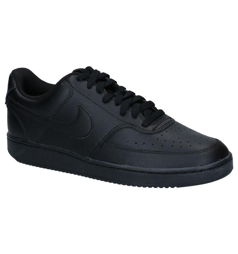 Nike Court Vision Baskets en Noir en cuir (283892)