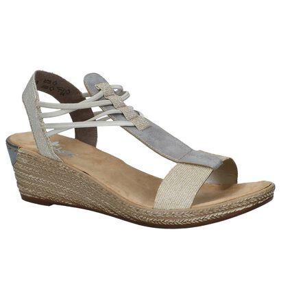 Rieker Gouden Sandalen met Sleehak, Goud, pdp
