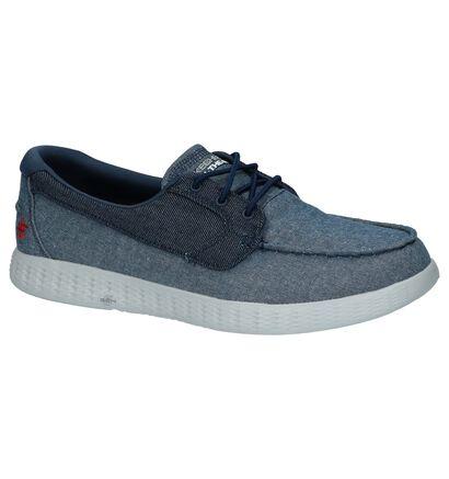 Jeansblauwe Skechers on-the-go Bootschoenen, Blauw, pdp