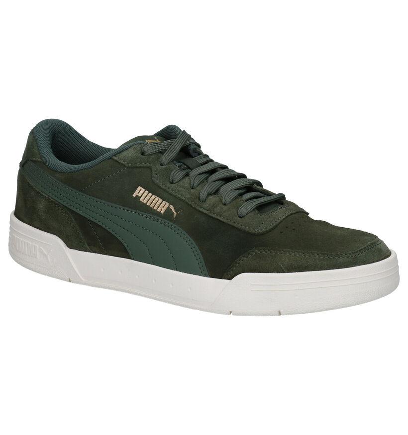 Puma Caracal Kaki Sneakers in leer (276736)