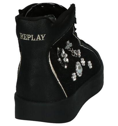 Zwarte Replay Affair Sneakers in imitatieleer (202312)