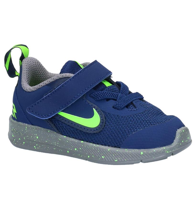 Nike Downshifter 9 Blauwe Sneakers in leer (254097)