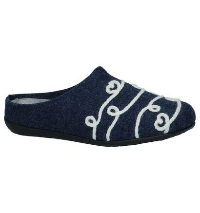 Donkerblauwe Pantoffels Via Limone in stof (223804)