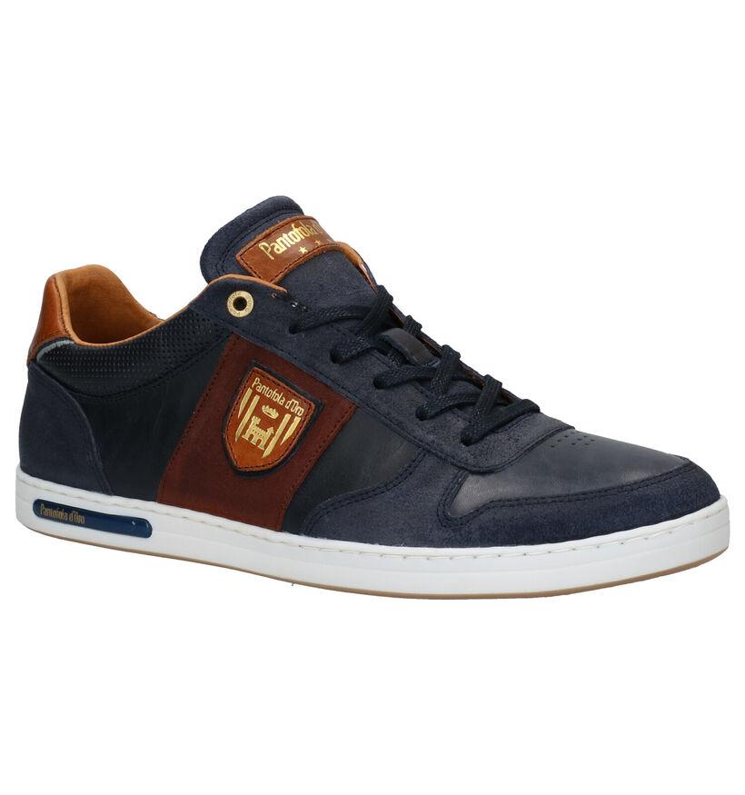 Pantofola d'Oro Milito Low Chaussures à lacets en Bleu en cuir (286405)