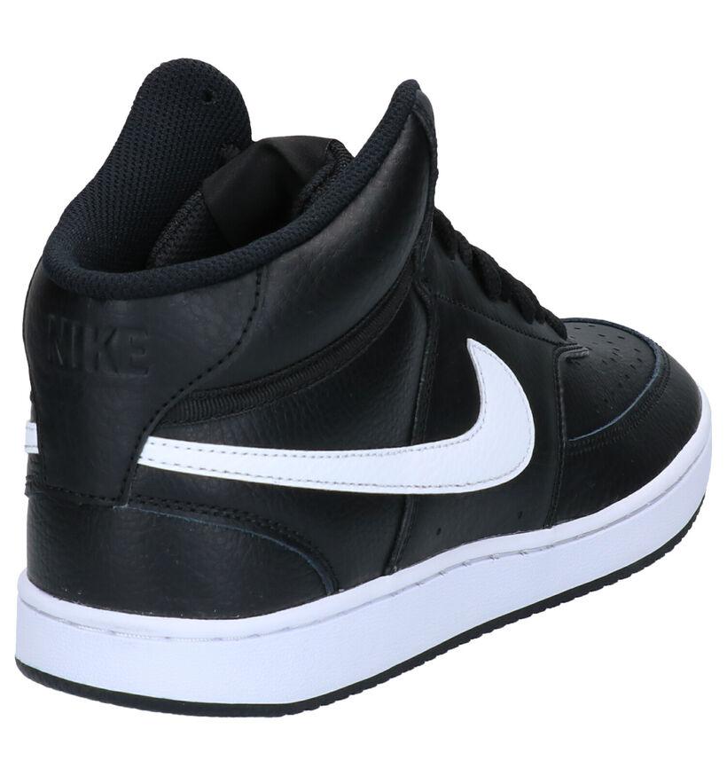 Nike Court Vision Mid Baskets en Noir en cuir (262208)