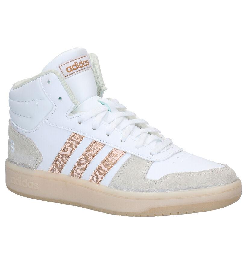 adidas Hoops 2.0 Mid Witte Sneakers in daim (282999)
