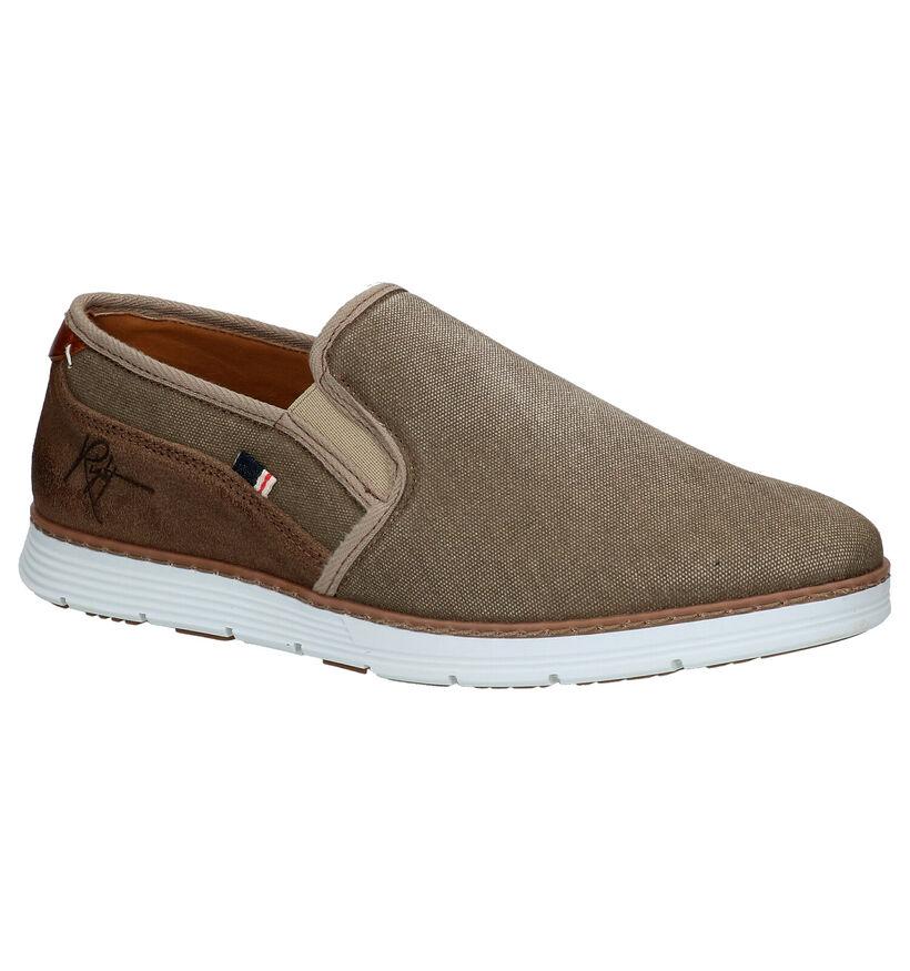 Bullboxer Chaussures slip-on en Taupe en textile (275352)