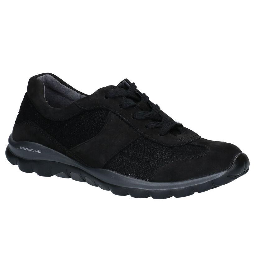 Gabor Rollingsoft Chaussures à Lacets en Noir en nubuck (283532)