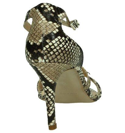 Les Autres Sandalen High Heels Bruin met Slangenprint, Bruin, pdp