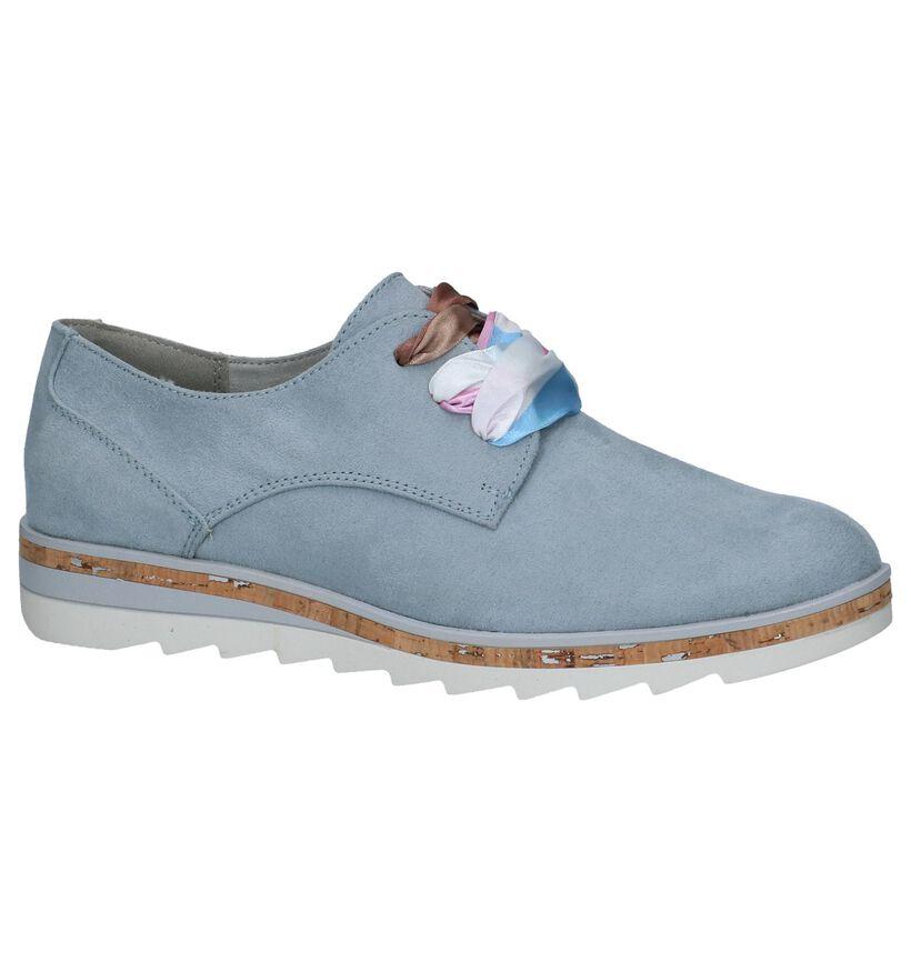 Marco Tozzi Chaussures à lacets en Bleu clair en textile (238112)
