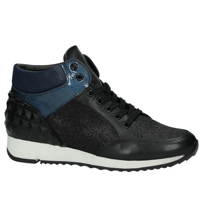 Blauwe Sneaker met Sleehak Monshoe, Zwart, pdp