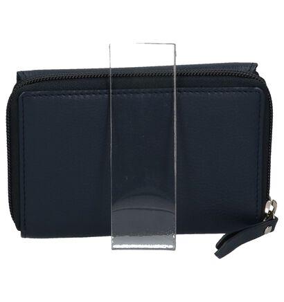 Euro-Leather Porte-monnaies à rabat en Bleu foncé en cuir (221090)