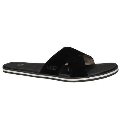 Zwarte Sportieve Slippers UGG Beach Slide in daim (210320)