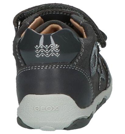 Donker Grijze Geox Boots met Velcro in leer (200279)