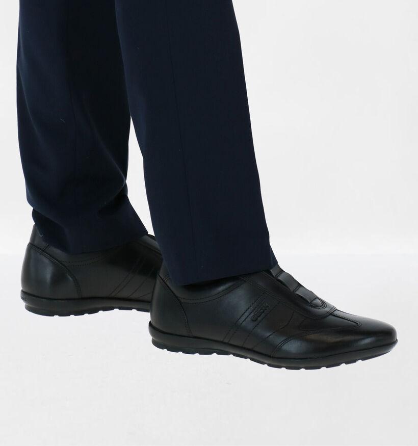 Geox Symbol Chaussures Slip-on en Noir en cuir (279094)