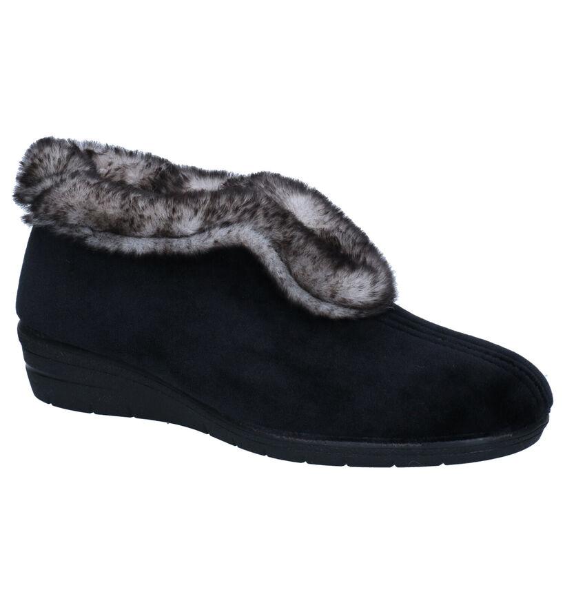Comfort Plus Pantoufles fermées en Noir en textile (292885)