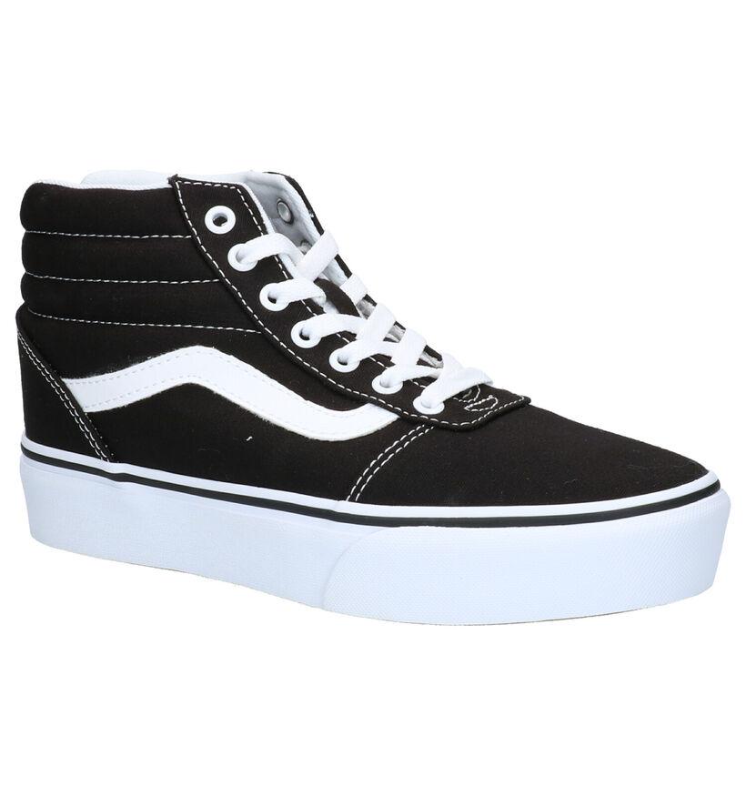 Vans Ward Hi Platform Zwarte Skateschoenen in stof (253494)