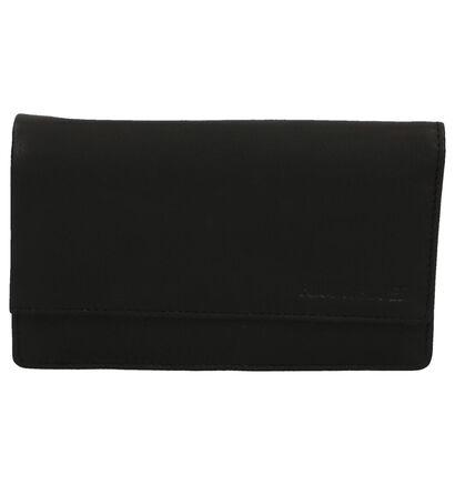 Euro-Leather Porte-monnaies à rabat en Noir en cuir (221108)