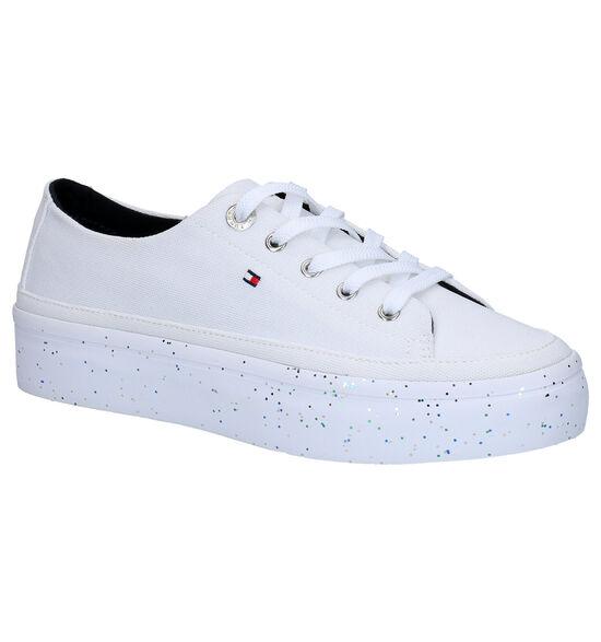 Tommy Hilfiger Glitter Flatform Witte Sneakers