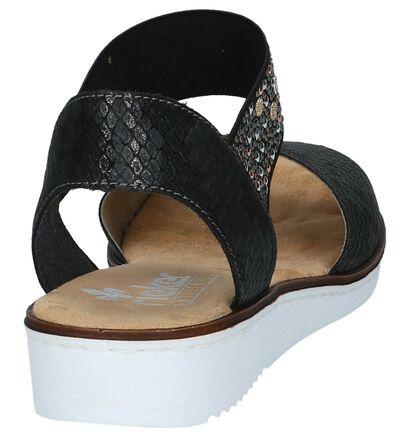 Zwarte Sandalen Sleehak met Slangenprint Rieker, Zwart, pdp