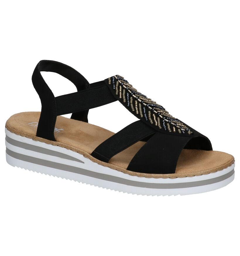 Rieker Sandales à talons en Noir en textile (271883)