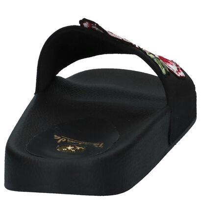 Zwarte Elegante Slippers met Bloemenprint La Strada in stof (218694)