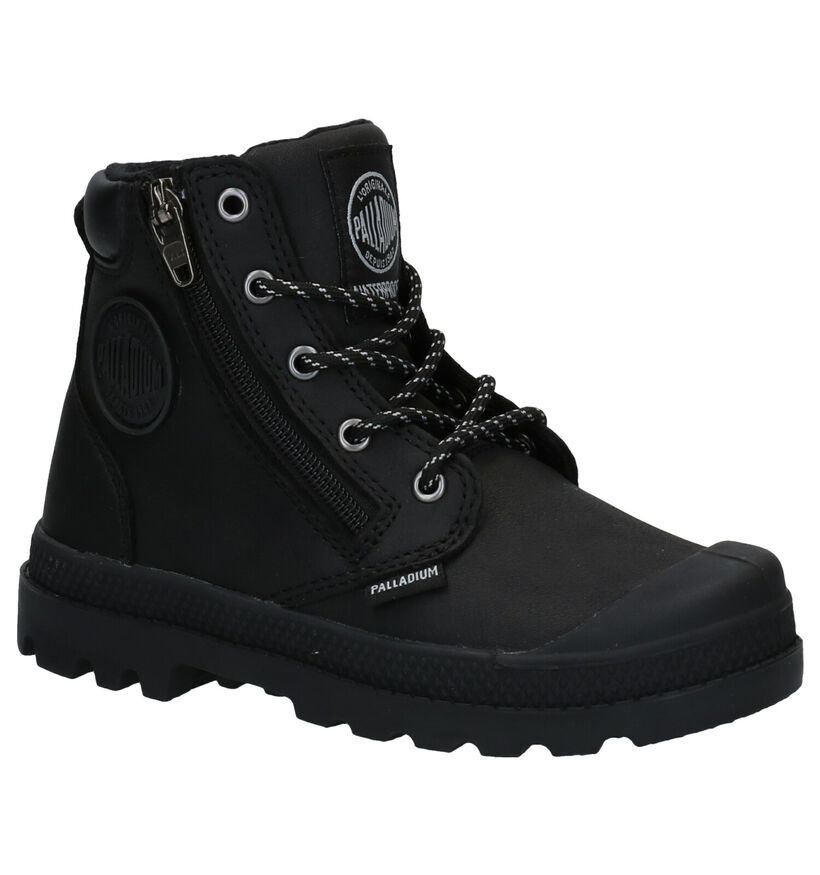Palladium Pampa Hight Cuff Bottines en Noir en cuir (256243)