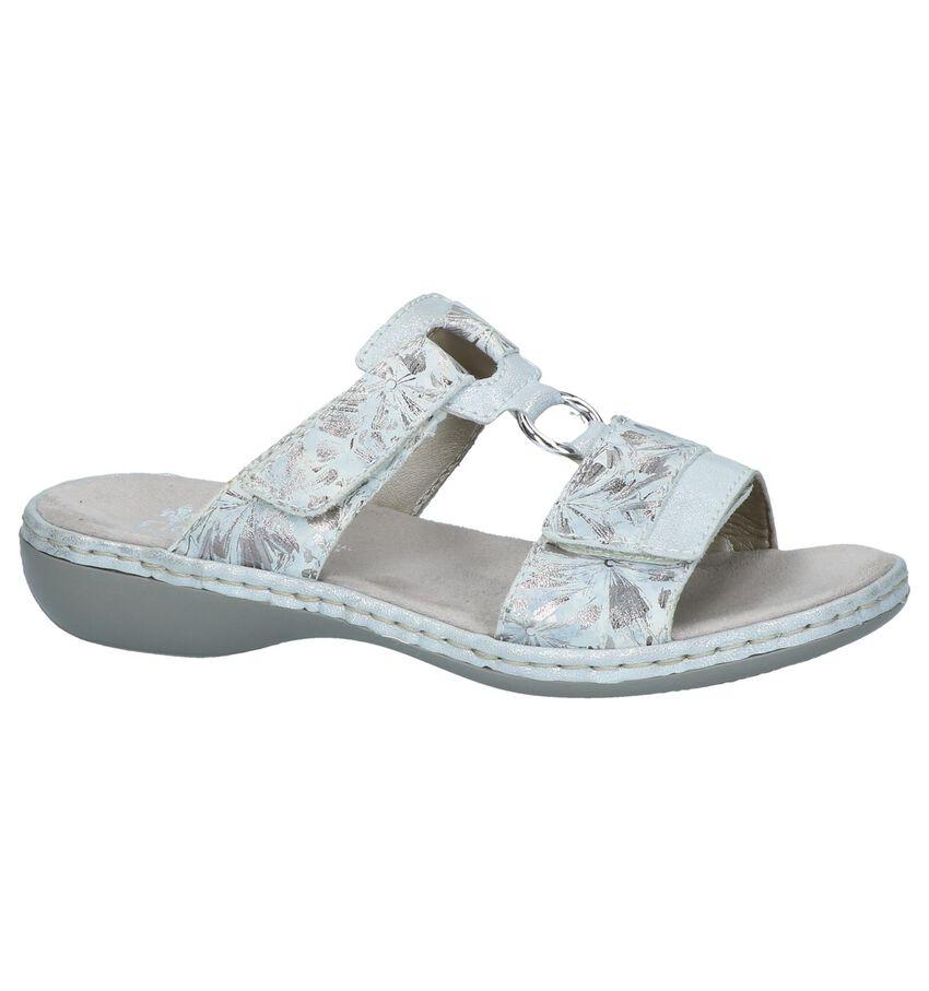 Zilveren Geklede Slippers Rieker
