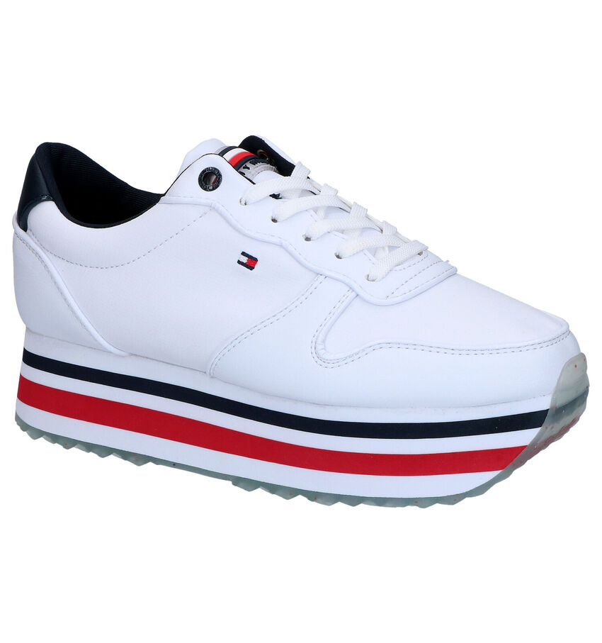 Witte Lage Sneakers Tommy Hilfiger Piped Flatform