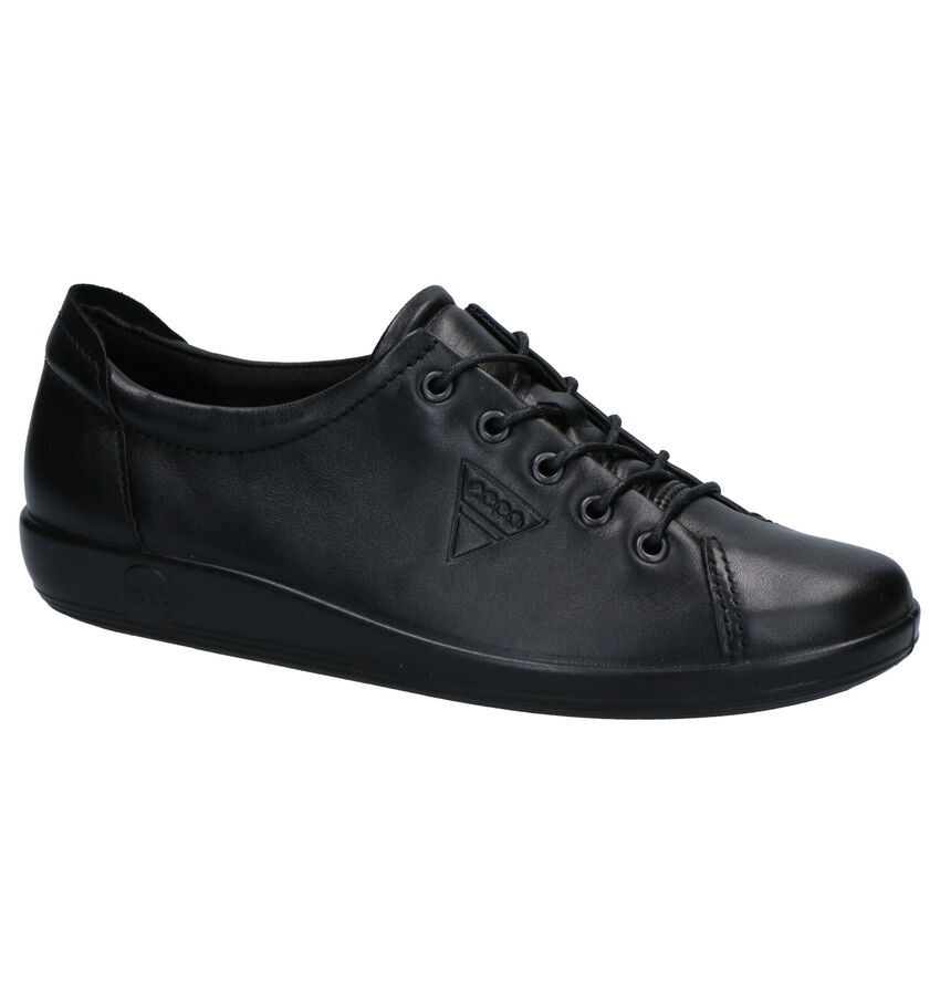 Ecco Soft 2.0 Zwarte Veterschoenen