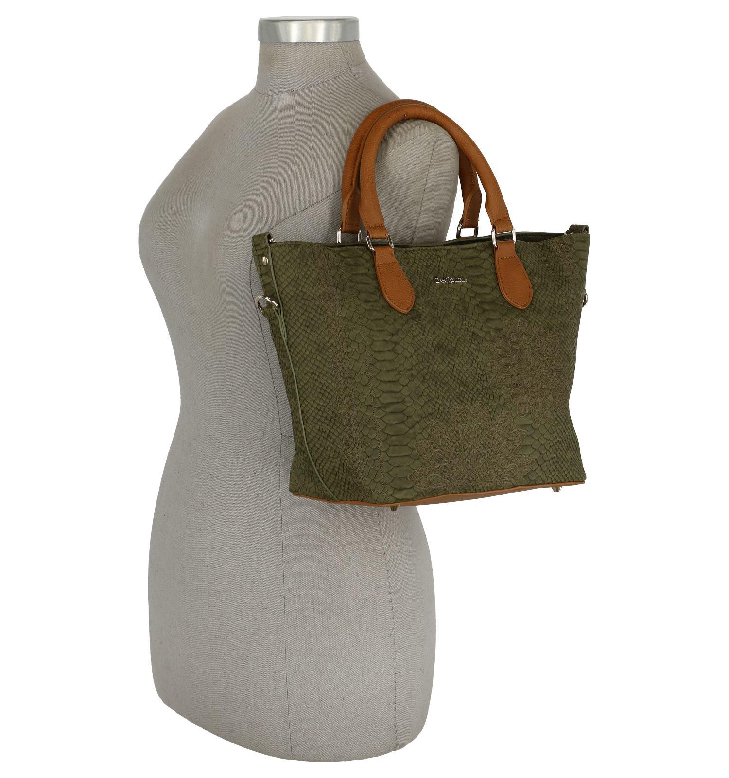 7c293c5dee6 Kaki Bag in Bag Handtas Desigual met Crocoprint   TORFS.BE   Gratis verzend  en retour