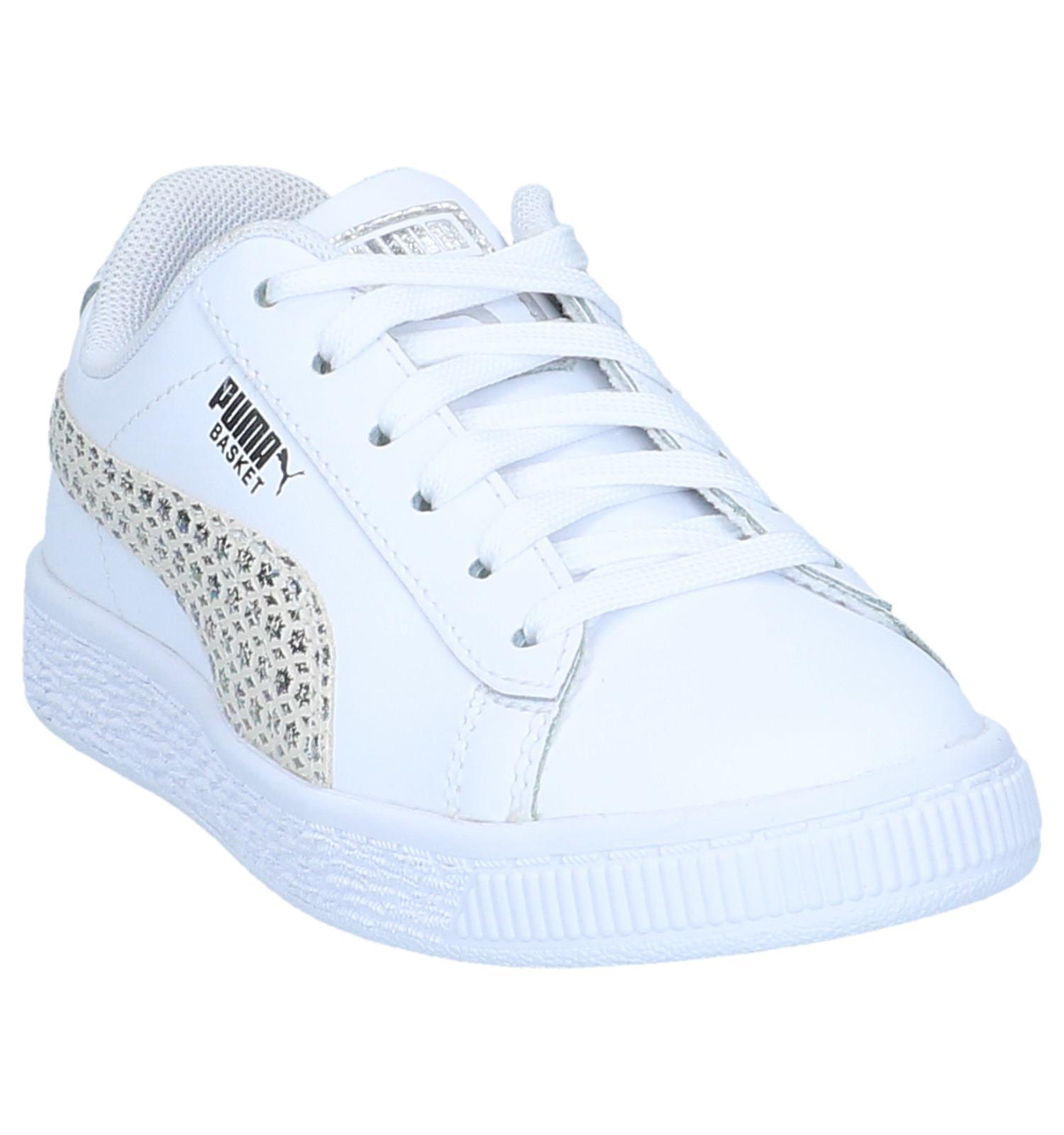 e95bacd5e3b Witte Sneakers Puma Basket Chameleon   TORFS.BE   Gratis verzend en retour