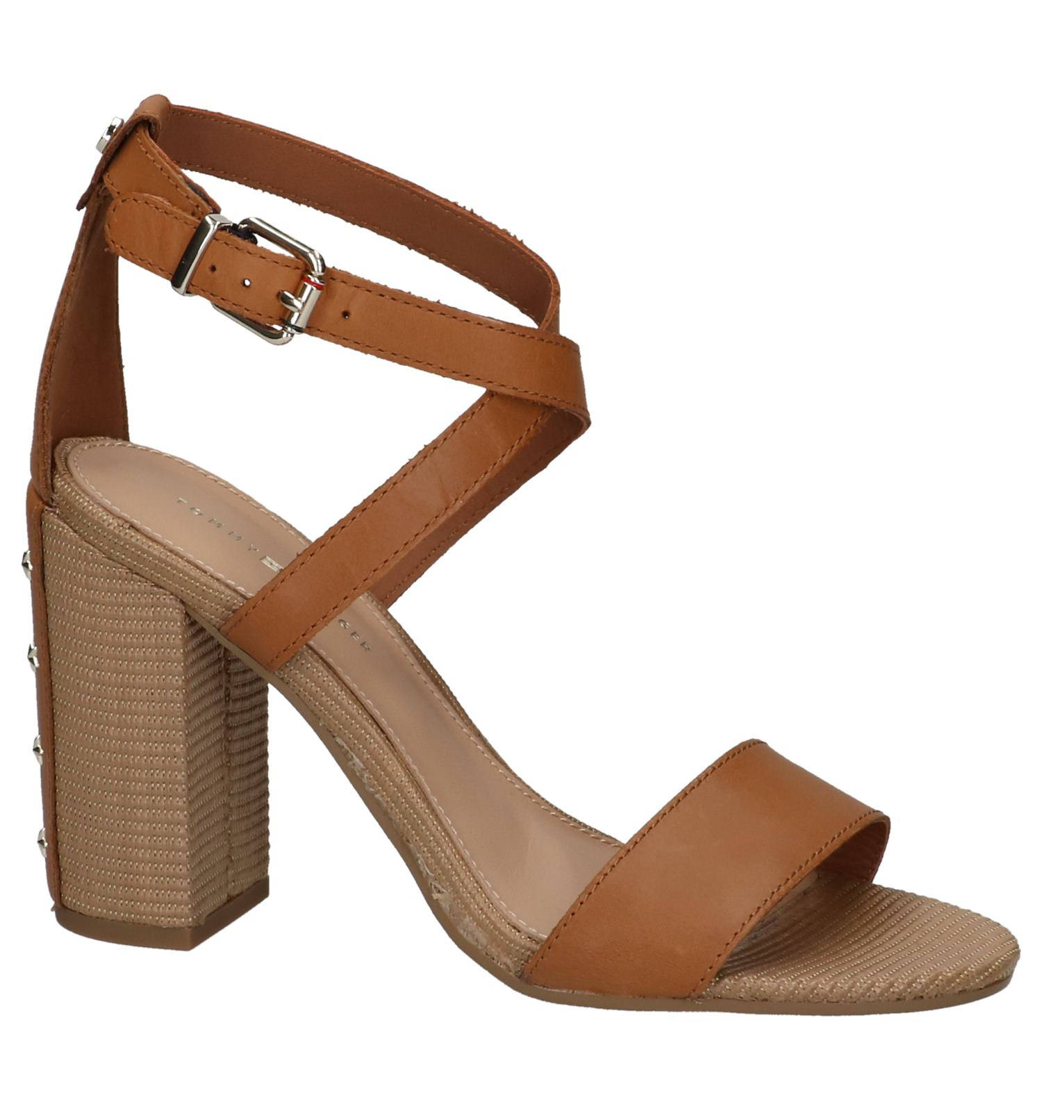 new style 422c9 d50d1 Cognac Tommy Hilfiger Feminine Heel Sandalen   TORFS.BE   Gratis verzend en  retour