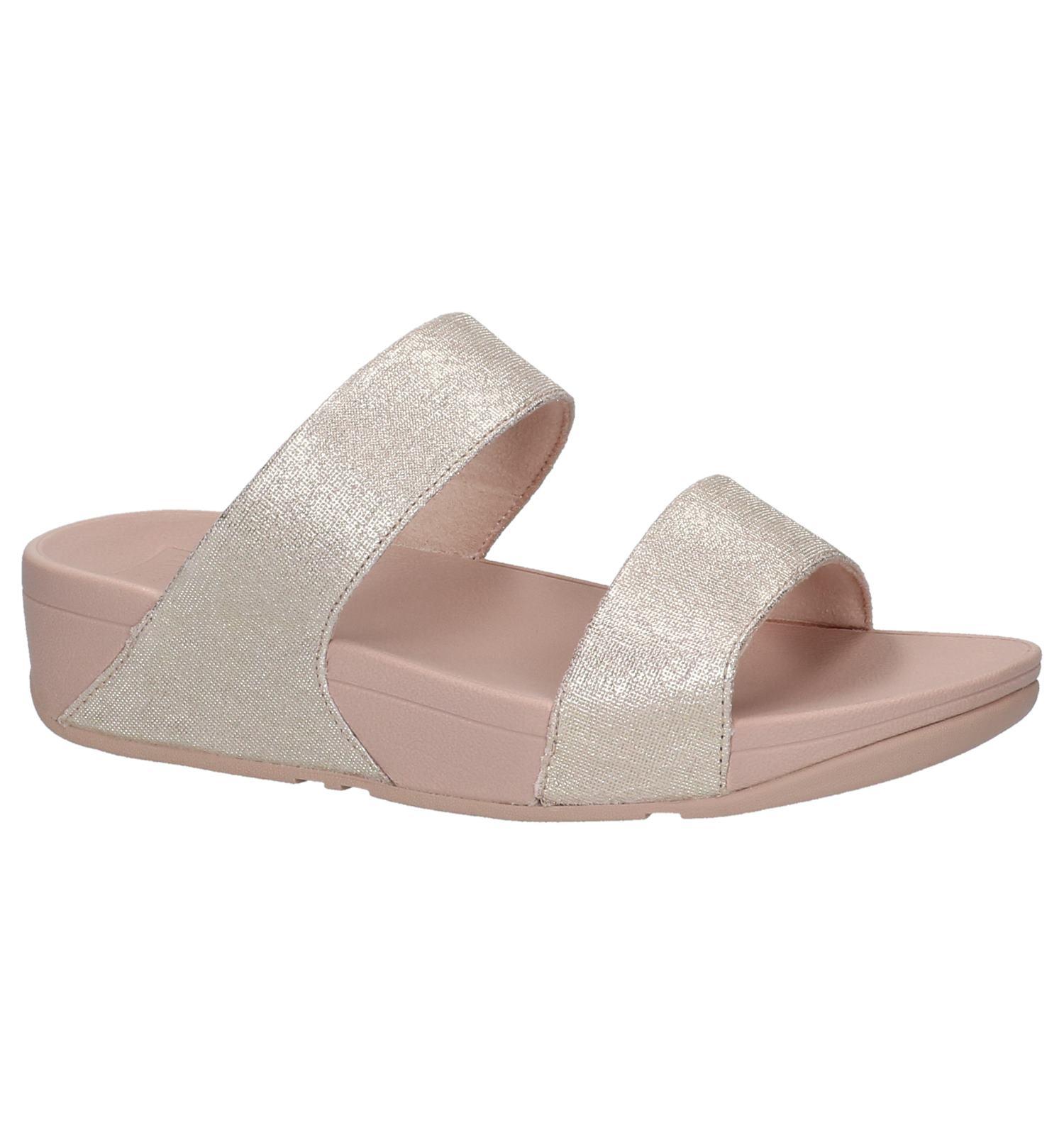af69d5c68c09 Rode Gold Slippers FitFlop Shimmy Slide Sandals Foil Print