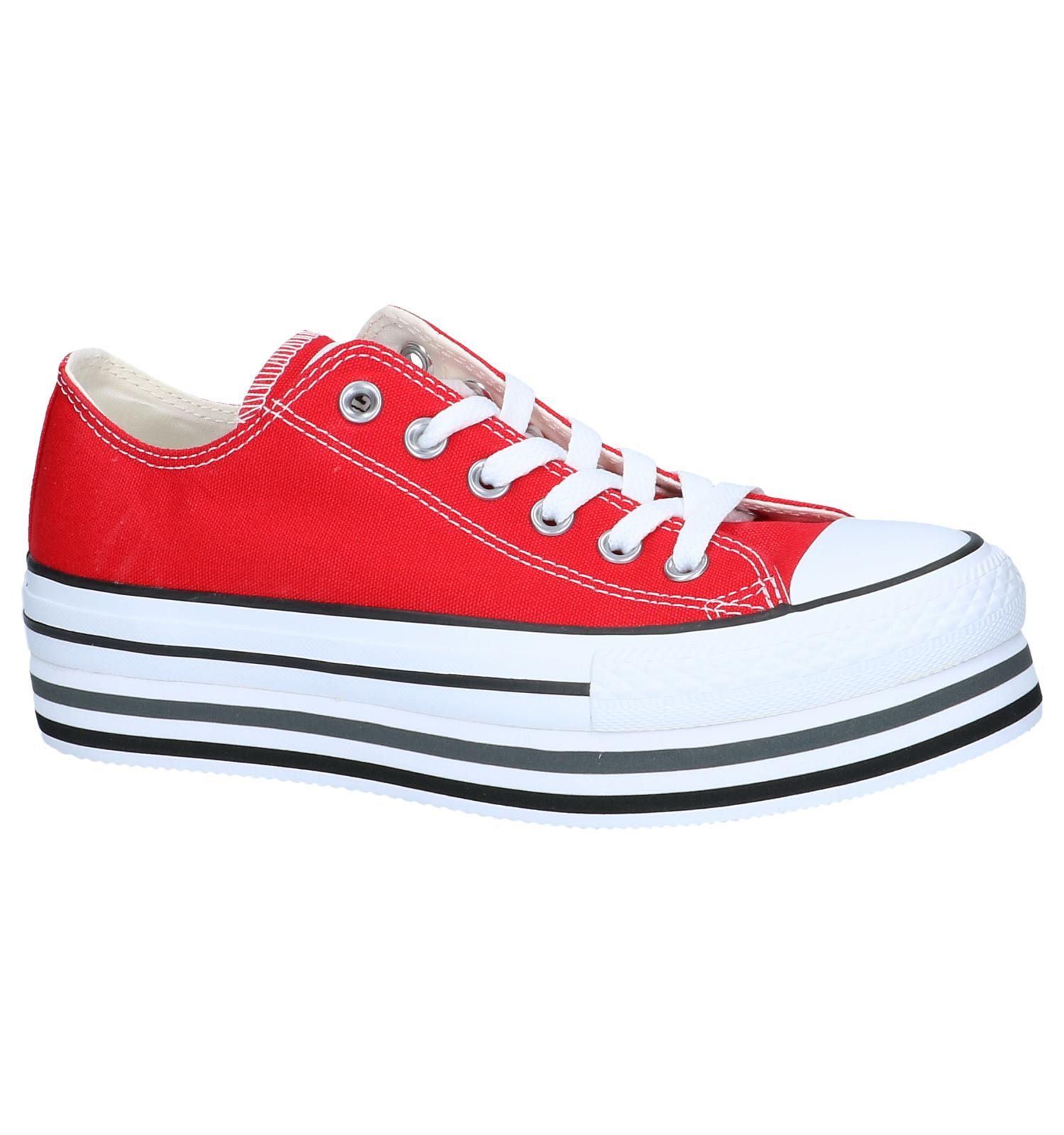 b7a2d88d9711 Rode Sneakers Converse All Star Chuck Taylor Platform Layer