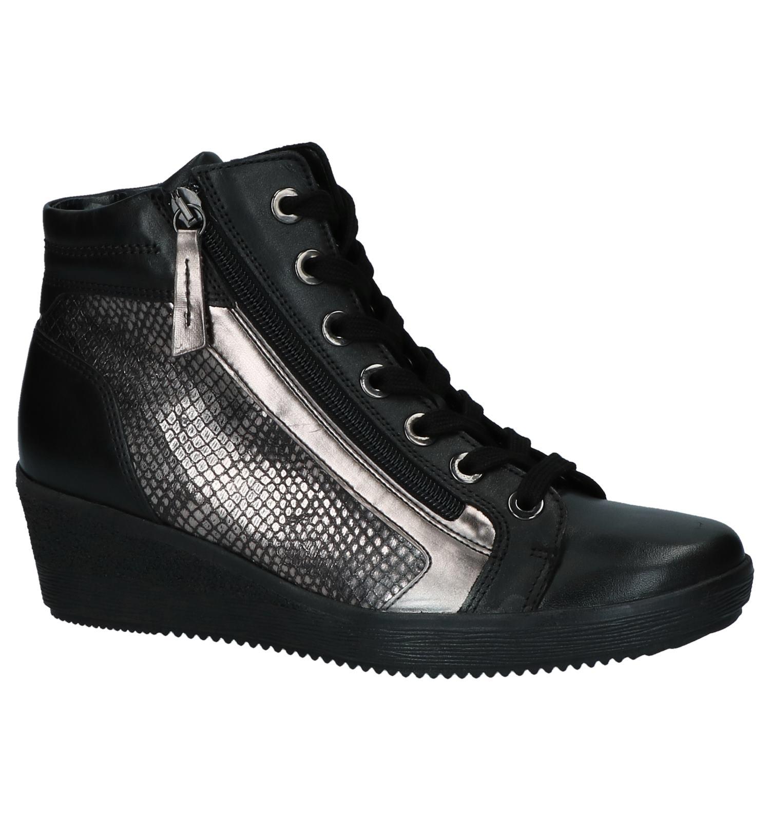 7eca1cb2422 Gabor Comfort Zwarte Sneakers met Sleehak | TORFS.BE | Gratis verzend en  retour
